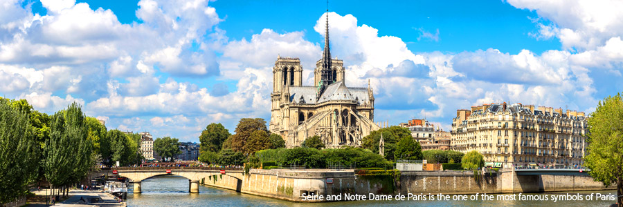 Seine and Notre Dame de Paris is the one of the most famous symbols of Paris